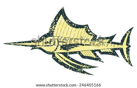 cartoon sailfish outline grunge vector illustration - stock vector