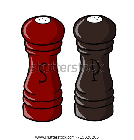 Great Cartoon Salt And Pepper Shakers Spice Kitchen Cartoon Salt Pepper Shakers  Spice Kitchen Stock Vector 715320205. Cheerful Cool ...
