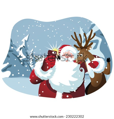 Cartoon Santa Claus and reindeer take a selfie EPS 10 vector illustration - stock vector
