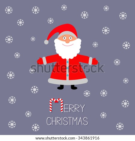 Cartoon Santa Claus and snowflakes. Violet background. Stick candy cane Merry Christmas card Flat design  Vector illustration - stock vector