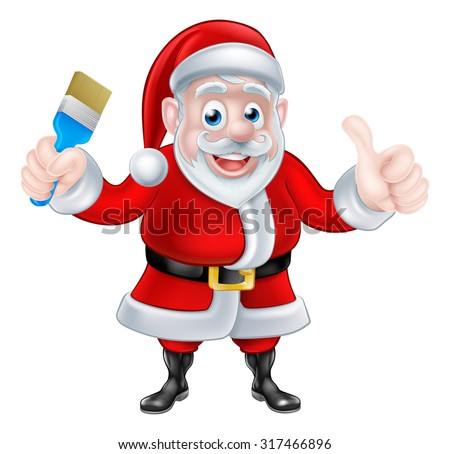 Cartoon Santa Claus holding paintbrush and giving a thumbs up