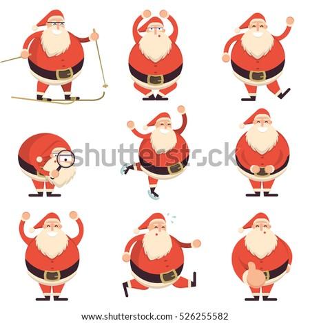 cartoon santa claus various poses collection stock vector 526255582