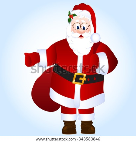 Cartoon Santa Claus isolated vector illustration with sack