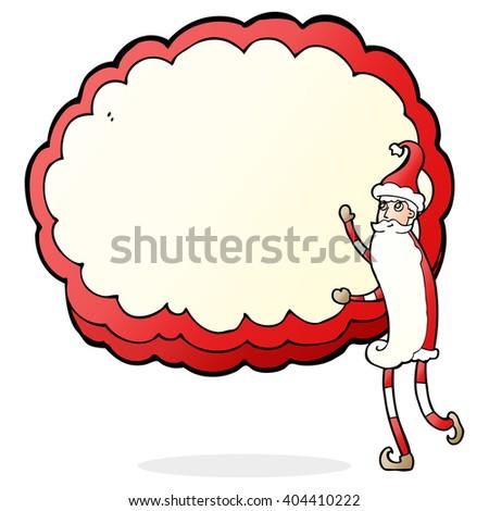 cartoon santa claus presenting text cloud space - stock vector