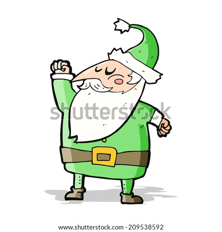 cartoon santa claus punching air