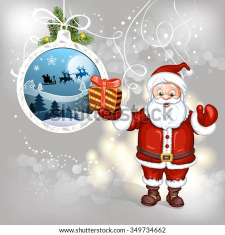 Cartoon Santa Claus with gifts - stock vector