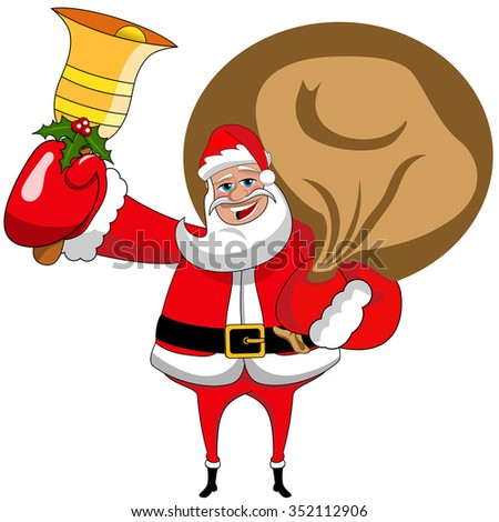 Cartoon santa claus with sack and ringing gold xmas bell isolated
