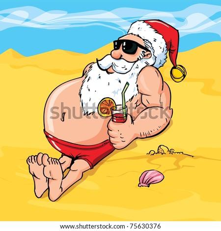 Cartoon santa on the beach catching a tan - stock vector