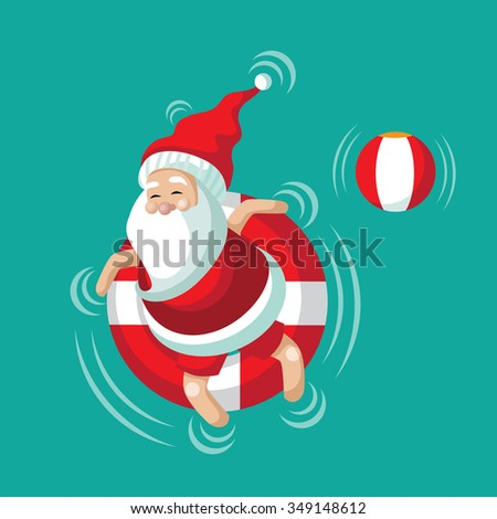 Cartoon Santa relaxing in an inner tube on the tropical sea. Christmas in June, July, August, for poster, marketing, advertising, summer sale, greeting card. EPS 10 vector illustration. - stock vector