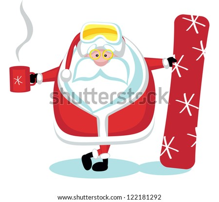 Cartoon Santa snowboarding with tea cup. Separate layers - stock vector
