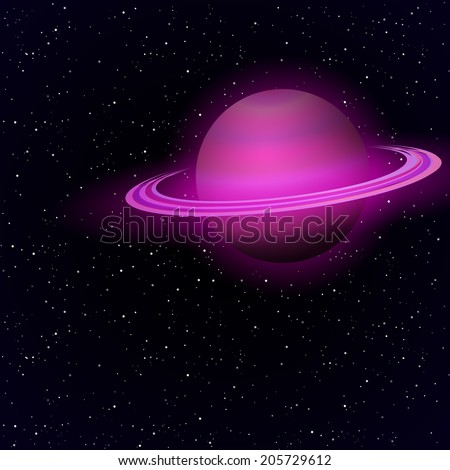 Cartoon Saturn planet in open space. Vector background