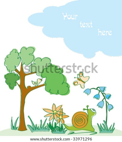 Cartoon scene with snail and butterfly - stock vector