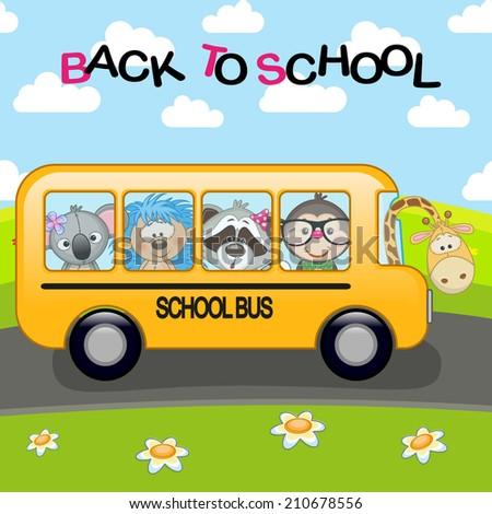 Cartoon school bus with animals - stock vector
