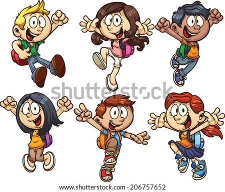 Cartoon school kids. Vector clip art illustration with simple gradients. Each on a separate layer. - stock vector