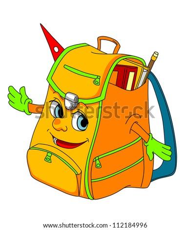 Cartoon school satchel for education concept. Vector illustration - stock vector