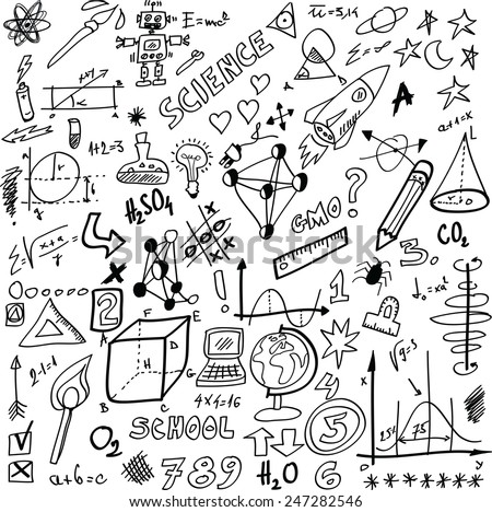 cartoon Science, vector illustration isolated on white background - stock vector