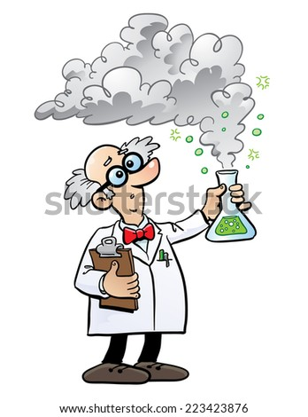 Cartoon scientist with smoking flask - stock vector