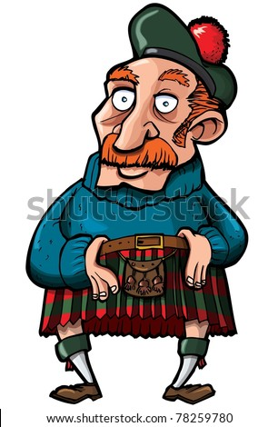 Cartoon Scotsman with a kilt and sporran. Isolated on white - stock vector