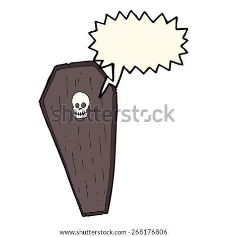 cartoon screaming coffin - stock vector