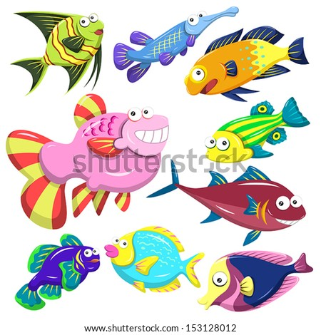 cartoon sea animals collection with white background