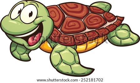 Cartoon sea turtle. Vector clip art illustration with simple gradients. All in a single layer. - stock vector