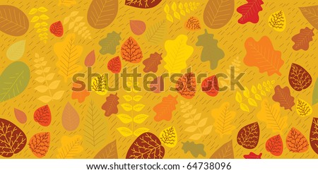 Cartoon seamless pattern with autumn leaves .Background - stock vector