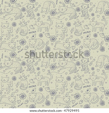 Cartoon seamless pattern with funny cats - stock vector