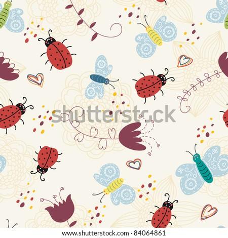 cartoon seamless pattern with ladybirds and butterflies - stock vector