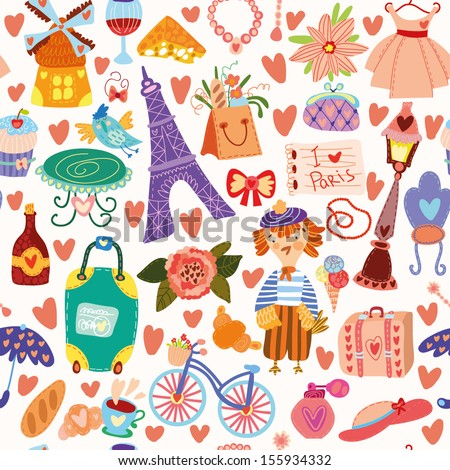 Cartoon seamless pattern with Paris elements. Seamless pattern can be used for wallpaper, pattern fills, web page background,surface textures. - stock vector