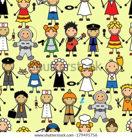 Cartoon seamless pattern with people of different professions - stock vector