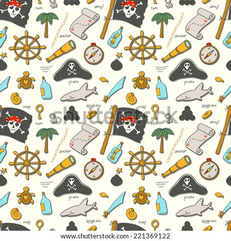 Cartoon seamless pirate pattern. Hand drawn pirate pattern made in vector. - stock vector