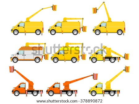 Cartoon self drive platforms (cherry pickers) on the white background. Vector
