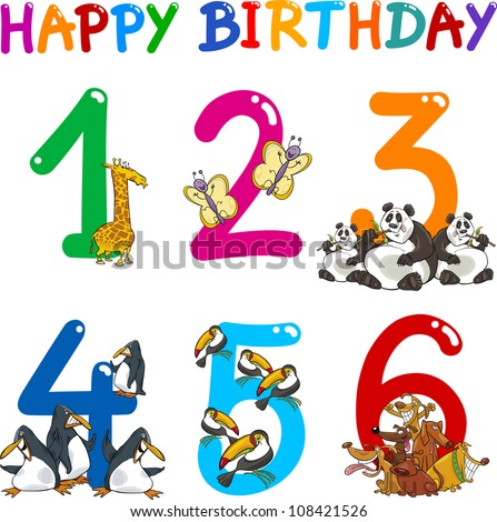 Cartoon Set Illustration of Birthday Anniversary Numbers with Funny Animals or Insects - stock vector