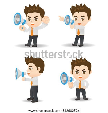 Cartoon set of Businessman shout megaphone isolated on white background - stock vector