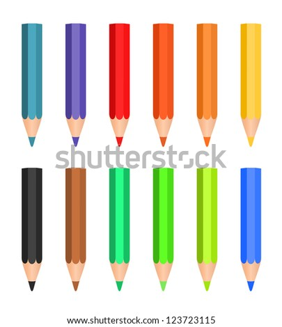 Cartoon set of colored wood pencils on the white background