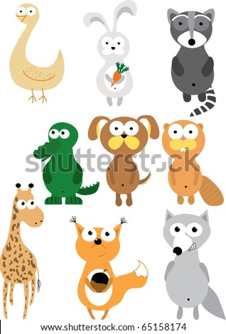 Cartoon set of colorful animals - stock vector