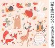 Cartoon set of cute wild animals in the forest: bear, fox, hedgehog, rabbit, snail, deer, owl, bird, mouse. Vintage childish set in vector. - stock vector