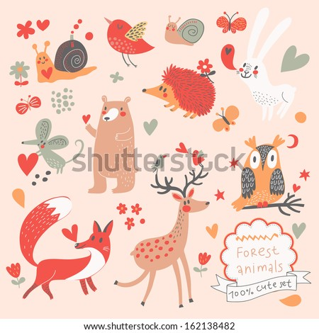 Cartoon set of cute wild animals in the forest: bear, fox, hedgehog, rabbit, snail, deer, owl, bird, mouse. Vintage childish set in vector. - stock vector