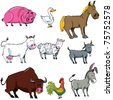 Cartoon set of farm animals isolated on white - stock vector