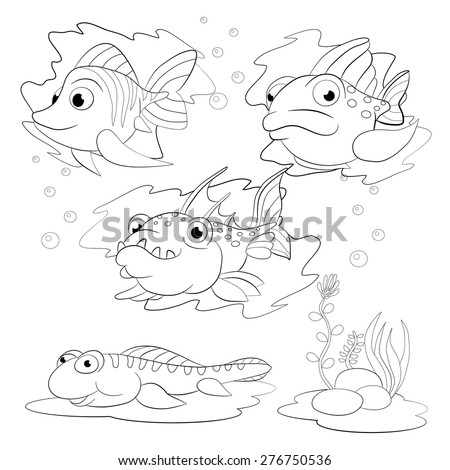 Cartoon set of funny fishes. Coloring book.