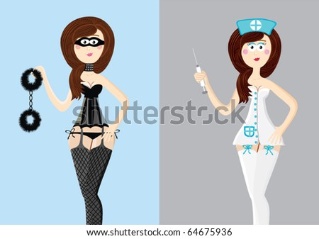 Cartoon set of sexy women. Woman in black & nurse - stock vector