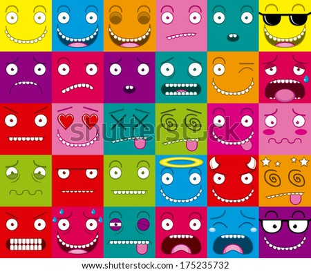 Cartoon Set Of Thirty Different Faces - stock vector