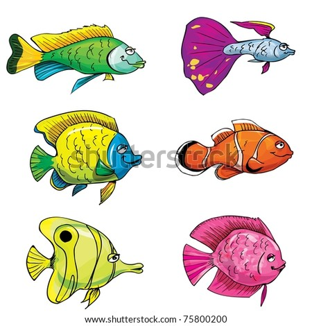 Cartoon set of tropical fish. Isolated on white - stock vector