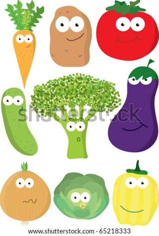 Cartoon set of vegetables. - stock vector