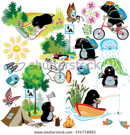 cartoon set with mole in camping, difference situation, isolated images for little kids