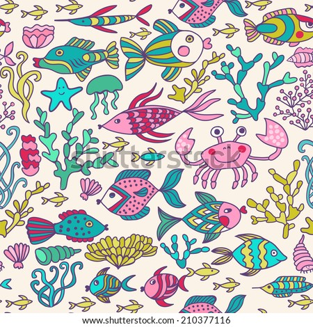 Cartoon set with sea live, vector set. Colorful sea animals, sea world seamless pattern, under water world wallpaper with fish, octopus and vegetation