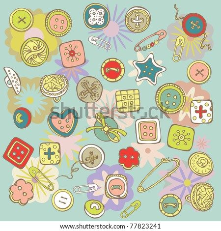 cartoon sewing buttons. vector background