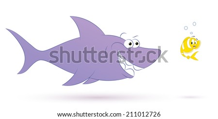 Cartoon shark and fish - vector illustration. All in a single layer and white background.