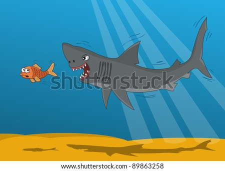 Cartoon shark and small gold fish