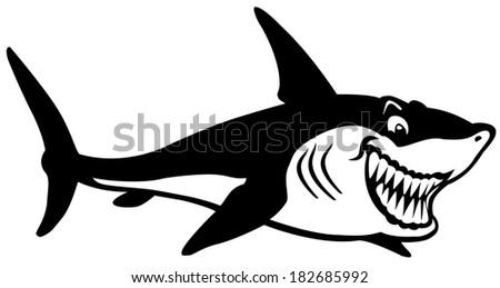 cartoon shark black and white image - stock vector